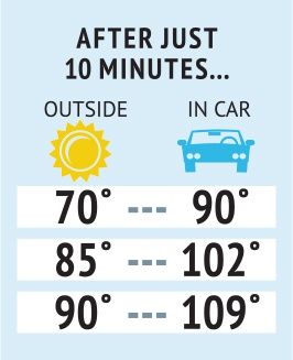 chart describing different temperatures outside and in a car