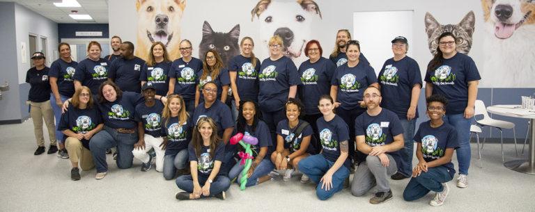 LifeLine team photo in the Community Animal Center adoption lobby