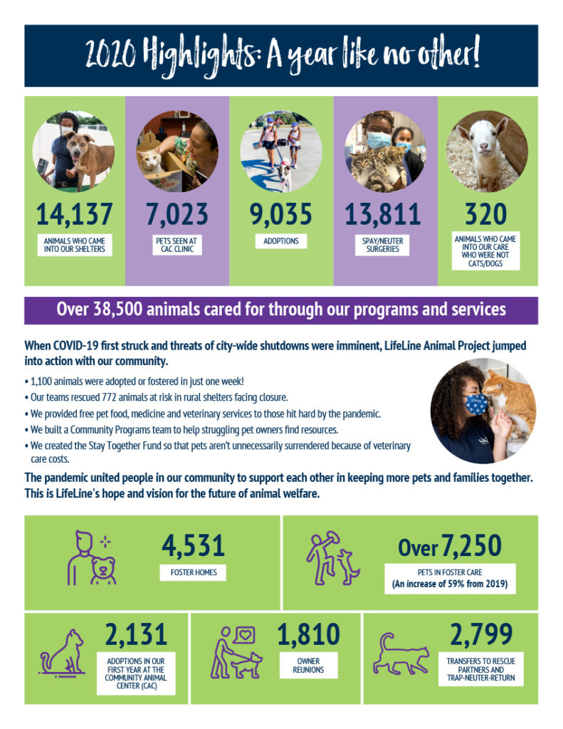 LifeLine's 2020 Infograph with adoptions, vet clinic customers and foster homes stats