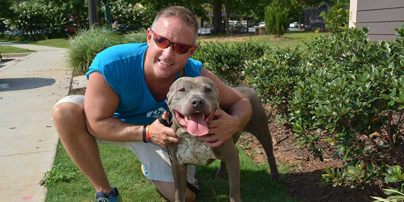 male volunteer smiling at the camera with a grey large dog