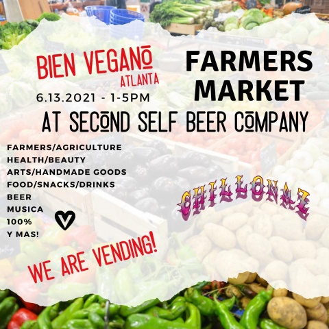 Event Graphic listing the details of the Bien Vegano Atl - Internation Farmers Market